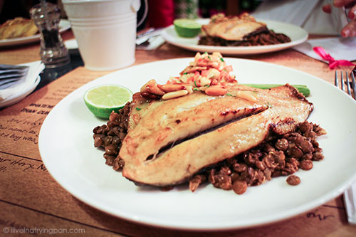 Seabream with lentils and pine nut salsa - Dima Sharif at Book Munch Cafe