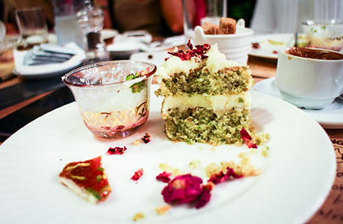 Pistachio and rosewater cake - Dima Sharif at Book Munch Cafe