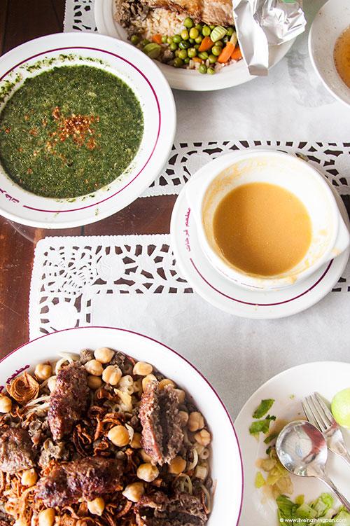 Koshari with Kofte, Molokhiya, Lentil Soup - Farhat Alasli - Egyptian Restaurant - Abu Hail Dubai