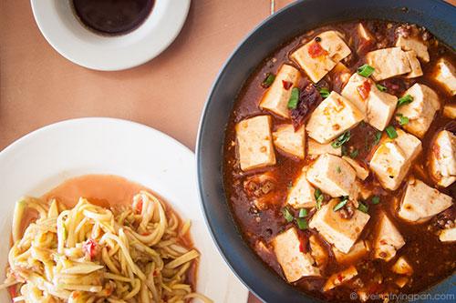 Tofu in meat broth, mango salad - Dumpling Queen - International City - Dubai